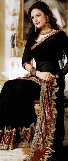 #Black Faux Georgette #Saree with Blouse #Georgette #Sarees