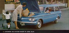 1961 Chevrolet Corvair Lakewood 700 Station Wagon. The engine was under the cargo floor in the wayback!