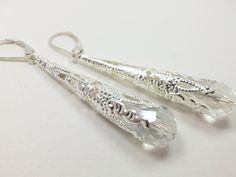 Long Silver Wedding Earrings Clear Victorian Style Jewelry Wedding Earrings