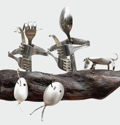Flatware Fishing Couple and Dog in Driftwood Dinghy / Silver Spoon Fish Wind Chime    This Darling Duo proudly show off their catch while sitting atop