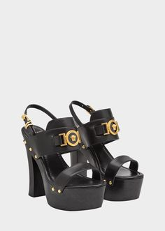 f1a8cdff0 $1075 Versace Black Sandals, Leather Sandals, Medusa, Hi Fashion, Calf  Leather,