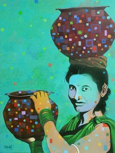 The Balancing Act by Studio Zaki | Acrylic On Canvas | Size (W x H): 30 x 40 inch