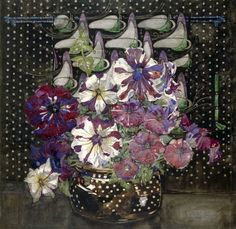 """""""Petunias"""". Artist: Charles Rennie Mackintosh. Charles Rennie Mackintosh was a Scottish architect, designer, water colourist and artist. (This print is available in any size; paper or canvas. Fine Giclee Print. ). 