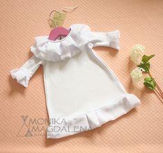 "Baptism, blessing, christening baby girl dress  ""Frills Elise"" with beautiful knitwear white and white chiffon fabric. by MonikaMagdalenaHM on Etsy"