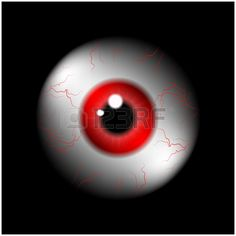 Image of realistic human eye ball with red pupil, iris. Vector illustration isolated on black background.