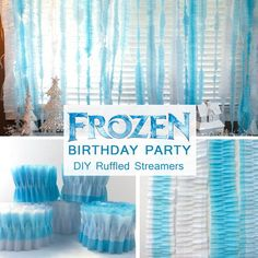 Take crepe paper streamers up a notch by creating these Disney Frozen DIY Ruffled Streamers - all you need are crepe paper streamers and a sewing machine.