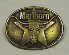 Vintage Marlboro Solid Brass Belt Buckle 1987 - Commercially Sold #Unknown