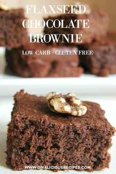 Flaxseed Chocolate Brownie - Keto Brownies - Ideas of Keto Brownies - A low carb and gluten free flaxseed chocolate brownie that may change your mind about flaxseed as these are moist tasty and not overpowering with the flavour of flaxseed. Fudge Brownies, Healthy Brownies, Chocolate Brownies, Chocolate Recipes, Keto Fudge, Chocolate Chocolate, Brownie Recipes, Sin Gluten, Low Carb Desserts