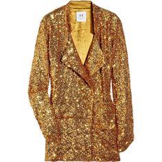 Halston Heritage Boyfriend-Fit Sequined Tuxedo Jacket ($420) ❤ liked on Polyvore featuring outerwear, jackets, blazers, coats, women, brown blazer, pocket jacket, sparkle jacket, long sleeve blazer and brown jacket