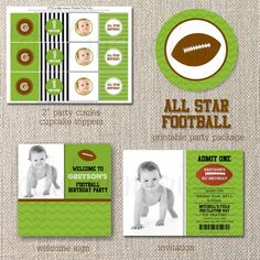 DIY Deluxe Printable Party Package. All Star Football Birthday COLLECTION. Customizable. totful memories. $35.00, via Etsy.