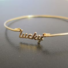 Lucky Charm Bracelet Lucky Bangle Bracelet Good by FrostedWillow, $14.95