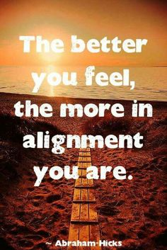 The better you feel, the more in alignment you are. -Abraham Hicks Quote #quote #quoteoftheday #inspiration