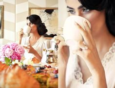 Morning of Wedding. Bride Getting Ready. The bride takes a sip of her morning coffee, smiling to herself in anticipation of her wedding at The Ritz-Carlton, Dubai International Financial Centre.