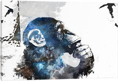 The Thinker Monkey Watercolor Silhouette by 5by5collective Art Print