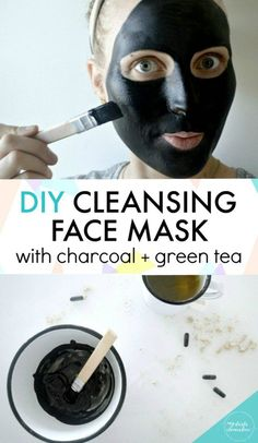 DIY Deep Cleansing Charcoal Face mask recipe for all skin types.  Includes green tea, peppermint, and clay to cleanse and balance skin and reduce fine lines, blackheads & breakouts. Especially great for oily skin. #GreenTea #TeaBenefits