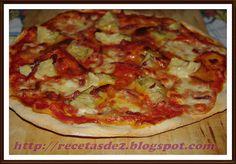 PIZZA DE ALCACHOFAS Y JAMÓN