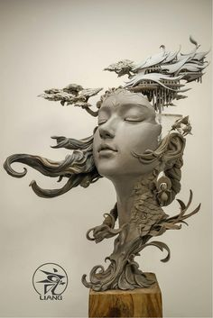 Chinese artist Yuanxing Liang is redefining the traditional bust sculpture with his breathtaking fantasy art. The prototyping teacher crafts intricate portraits featuring faces of women that are fused with delicate flourishes and elements of landscapes. Portrait Sculpture, Sculpture Clay, Art Sculptures, Sculpture Painting, Ceramic Sculptures, Abstract Sculpture, Surrealism Sculpture, Ceramic Sculpture Figurative, Photo Sculpture
