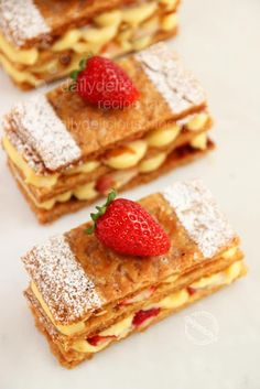 Mille feuille: Delicious, crunchy, sweet and bitter, you have them here.