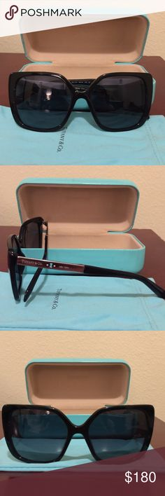 Tiffany & Co. sunglasses Stylish and trendy Tiffany & Co. sunglasses! Black sunglasses with silver legs. Has a few tiny scratches on lens but still in good condition. Also includes Tiffany sunglasses case. Super cute for any occasion 😎 Style #: TF 4074-B Tiffany & Co. Accessories Sunglasses