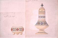 Gustav Gaudernack design for salt-cellar and sugar sprinkle in gilt silver and champléve enamel. 1894