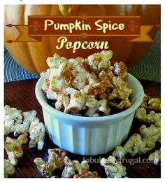 Pumpkin spice popcorn is great for a snack while watching movies! Just make some plain popcorn and add the topping. For the coating, melt a cup of butterscotch chips with one teaspoon pumpkin spice. Pour it over the popcorn, and let it cool. Yum!