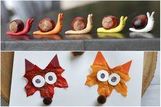 Har dulöv, kastanjer och färg har du grunden till bådeenkelt, billigt och roligt höstpyssel för barn.