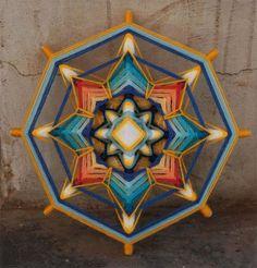 Golden Seed yarn mandala Ojo de Dios 9 inches 23 by JivaMandalas Weaving Art, Hand Weaving, Fall Crafts, Arts And Crafts, Hippie Bedroom Decor, Mandala Yarn, Gods Eye, Spirited Art, Circle Art
