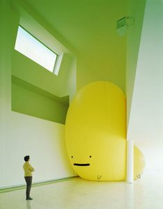 Creative Yellow, Supermarket, Blob, and Sculpture image ideas & inspiration on Designspiration Land Art, Bühnen Design, Graphic Design, Instalation Art, Tachisme, Mellow Yellow, Yellow Guy, Big Yellow, Blue Green