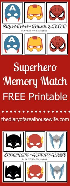 Superhero Memory Match – FREE Printable. I love simple kids actives like this. Just print and play.