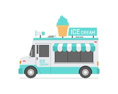 Ice Cream Truck. isolated on white background
