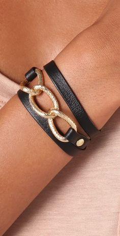 Leather & gold wrap bracelet