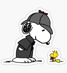 """""""Snoopy Holmes and Woodstock Watson"""" Stickers by anniechristie Stickers Cool, Tumblr Stickers, Printable Stickers, Laptop Stickers, Snoopy Love, Charlie Brown And Snoopy, Snoopy And Woodstock, Snoopy Images, Cute Tumblr Wallpaper"""