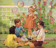 Illustration of children blowing bubbles -- by Miriam Story Hurford Vintage Children's Books, Vintage Artwork, Vintage Posters, Vintage Illustrations, Vintage Kids, Bubble Drawing, Bubble Art, Vintage Pictures, Vintage Images