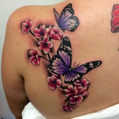Some cherry blossoms and purple butterflies, aww so pretty. Butterfly With Flowers Tattoo, Butterfly Name Tattoo, Butterfly Tattoo On Shoulder, Butterfly Tattoos For Women, Butterfly Tattoo Designs, Flower Tattoos, Purple Tattoos, Pretty Tattoos, Cute Tattoos