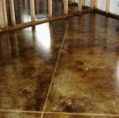 Stained concrete for basement floor