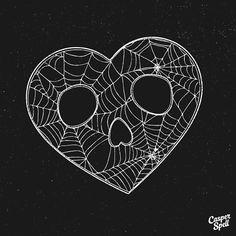 Skull Spiderweb Heart Art Design Tattoo Macabre Dark Spooky Halloween Casper Spell (www.CasperSpell.com)