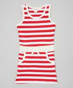 Look what I found on #zulily! Red & White Stripe Pocket Dress - Infant, Toddler & Girls #zulilyfinds