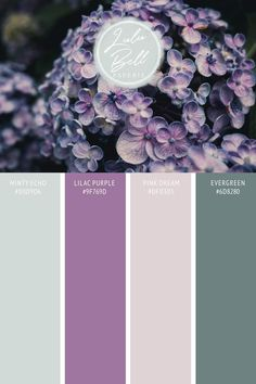 Designer Spotlight : Array for Weddings - Lilac Bouquet Wedding Collection free color swatch palette card below - With color hex codes included : A spring or summer wedding color scheme paint chip color swatch card Lilac Purple, Minty Echo, Evergreen, a Color Schemes Colour Palettes, Purple Color Schemes, Green Colour Palette, Paint Color Schemes, Wedding Color Schemes, Decorating Color Schemes, Different Colors Of Purple, Paint Color Swatches, Purple Palette