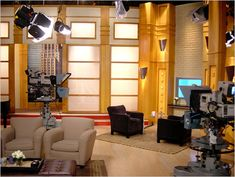 """Kevin appears on """"The Evette Welch Show"""" on a studio set, similar to this one in New York City, to promote his latest book/DVD on physical fitness, """"Motivated. Tv Set Design, Stage Design, Jackie Brown, Sound Stage, Entertainment Logo, Coffee Corner, Concept Board, Living Room Tv, New Shows"""