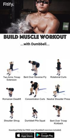Best Full Body Dumbbell Exercises by Fitify! Combination of upper body, core and lower body strength Abs Workout App, Dumbbell Workout At Home, Gym Workout Chart, Gym Workout Tips, Weight Training Workouts, Workout Exercises, Workout Dumbell, Dumbbell Exercises For Men, Best Arm Workouts