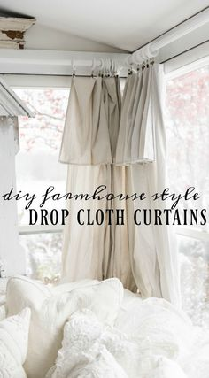 DIY drop cloth curtains - A simple & easy way to add farmhouse and cottage style curtains to any room on a budget! A great pin for farmhouse and cottage style decor inspiration! curtains DIY Drop Cloth Curtains In The Sunroom Farmhouse Curtains, Farmhouse Windows, Cottage Curtains, Kitchen Curtains, Country Curtains, Curtains On French Doors, Rustic Curtains, Easy Home Decor, Cheap Home Decor