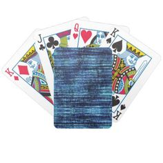 Dark Blue Denim Pattern Bicycle Playing Cards - pattern sample design template diy cyo customize