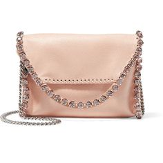 Stella McCartney The Falabella crystal-embellished faux suede shoulder... (1,330 NZD) ❤ liked on Polyvore featuring bags, handbags, shoulder bags, pink, pink shoulder bag, pink purse, chain purse, shoulder bag purse and stella mccartney