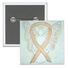 Gold Angel Awareness Ribbon Art Pin for Childhood Cancer