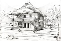 New house design drawing illustrations Ideas Technical Architecture, Pavilion Architecture, House Design Drawing, House Drawing, City Sketch, House Sketch, House Illustration, Illustrations, Architecture Drawing Sketchbooks