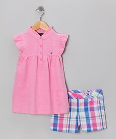 Take a look at this Pink Flutter Tunic & Shorts - Infant, Toddler & Girls by Nautica on #zulily today!