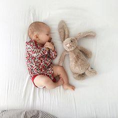 Poppy baby gap onesie on a sleeping baby