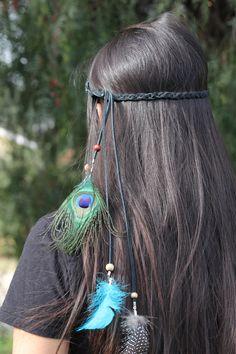 Peacock Feather headband:Beautiful handmadePeacock feather head piece, native american indian headdress, boho hippie tribal jewelry by BrilliantDesignsShop on Etsy