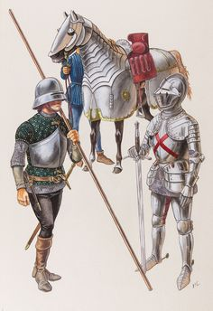 Soldati borgognoni - XV sec. Armadura Medieval, Fantasy Rpg, Medieval Fantasy, Military Art, Military History, Fantasy Faction, Wars Of The Roses, Early Middle Ages, Medieval Armor
