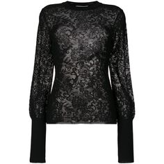 Givenchy Lace Knit Sweater ($1,280) ❤ liked on Polyvore featuring tops, sweaters, black, givenchy sweater, embroidered lace top, lace top, slim fit sweaters and sheer lace top